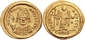 History of Romanian - Emperor Justinian I's golden solidi