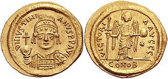 History of Romanian - Emperor Justinian I's golden solidi