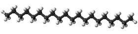 Ball and stick model of the icosane molecule