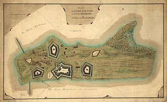 Battle of Ticonderoga (1759) - A 1760 map showing Bourlamaque's fortifications on the Île-aux-Noix