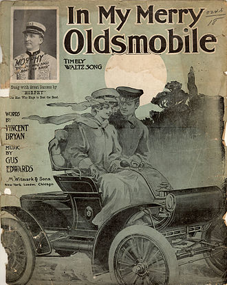 "Oldsmobile Curved Dash - ""In My Merry Oldsmobile"" sheet music featuring an Oldsmobile Curved Dash automobile"