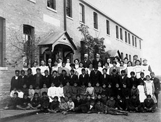 Canadian Indian residential school system - Residential school group photograph, Regina, Saskatchewan, 1908