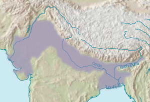 Megasthenes - The Indo-Gangetic Plain (grey area). The region to which Megasthenes was ambassador is the north-central region on the Ganges at the location of today's Patna. The western side is the Punjab region, which he also described. The Seleucid kingdom is out of the grey area to the west. The Seleucids were unable to retain territory in today's Pakistan (Punjab) after the death of Alexander.
