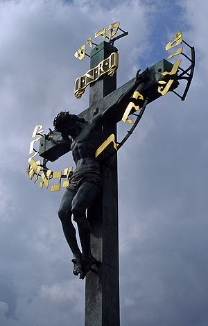 English: The Crucifix and Calvary statue on th...