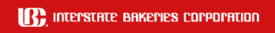 "White ""Interstate Bakeries Corporation"" on a red background"