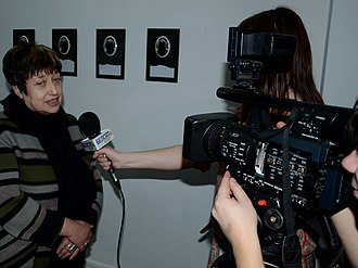 Belsat TV - Image: Interview of Belarusian Art critic Larisa Finkelshtein to Belsat TV 03