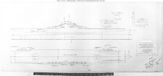 Iowa-class battleship - Line drawings of the proposed aircraft carrier conversion for hulls BB-65 and BB-66. Plans to move forward with this conversion were ultimately dropped, and both hulls were eventually scrapped.