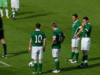 Republic of Ireland national football team - Ireland players (L-R) Robbie Keane, Liam Lawrence, Keith Andrews and Greg Cunningham in a 2010 friendly against Algeria
