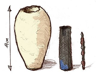 Set of three artifacts which were found together: a ceramic pot, a tube of one metal, and a rod of another