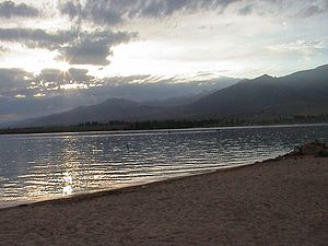 Issyk-Kul Region - Lake Issyk-Kul at sundown