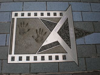 Jacky Cheung - Cheung's hand print an autograph at the Avenue of Stars in Hong Kong.