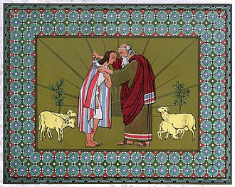 Coat of many colors - Jacob blesses Joseph and gives him the coat.