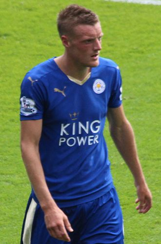 Jamie Vardy - Vardy playing for Leicester City in 2015