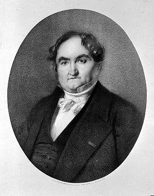 Jean-Pierre Falret - Portrait of Jean Pierre Falret. Lithograph by F. Dufourmantelle after A. Gautier