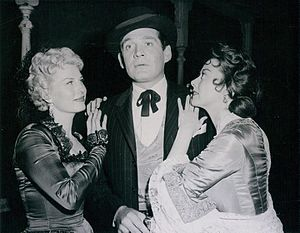 Adele Mara - Adele Mara (r.) with Jean Willes and Gene Barry in Bat Masterson, 1959
