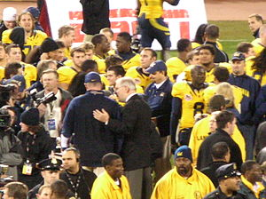 2008 Emerald Bowl - Cal head  coach Jeff Tedford accepts the 2008 Emerald Bowl trophy