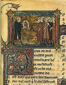 Una miniatura del XIII secolo con Jean Bodel, Bibliothèque nationale de France, Parigi.