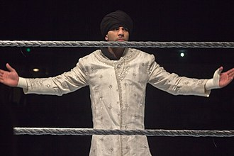 Jinder Mahal - As part of his first villain character, Mahal began wearing a signature pre-match attire, as seen here