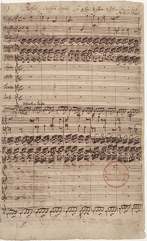 St John Passion - First page of the autograph: Passio secundum Joannem