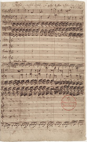 St John Passion structure - First page of the autograph