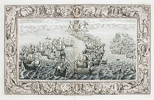 """John Pine - The """"Armada 1588. 22 July: the burning and capture of Miguel de Oquendo's ship San Salvador"""" (Plate V, The Tapestry Hangings of the House of Lords)"""", published by Pine in 1739"""
