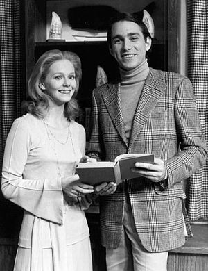 John Getz - Getz as Neil Johnson with Joanne Lange on the set of Another World in 1974.