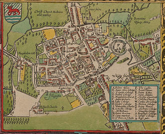 University of Oxford - In 1605 Oxford was still a walled city, but several colleges had been built outside the city walls (north is at the bottom on this map)