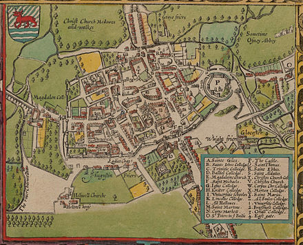 In 1605 Oxford was still a walled city, but several colleges had been built outside the city walls (north is at the bottom on this map). John Speed's map of Oxford, 1605..jpg