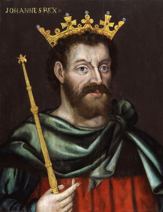 John's first expedition to Ireland - 17th century painting of John as King of England.