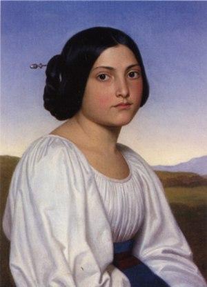 Joseph Anton Settegast - Portrait of an Italian Woman (Vittoria Caldoni, 1842)