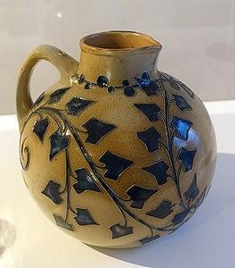 Jug, designed by Richard Riemerschmid, made by Merkelbach Wilhelm Reinhold, Grenzhausen, 1902, stoneware with salt glaze and relief - Bröhan Museum, Berlin - DSC03997
