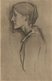 Drawing of Julia Stephen by William Rothenastein in 1890