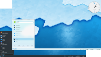 KDE - KDE Plasma 5.4 showing light and dark themes.
