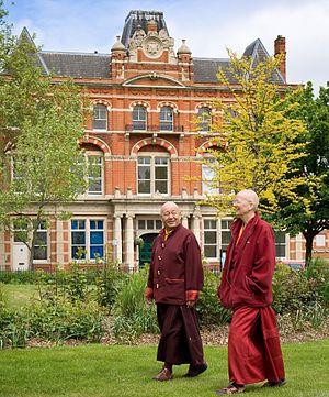 Kagyu Samye Dzong London - Lama Yeshe Losal Rinpoche and Lama Zangmo in Spa Gardens, outside Kagyu Samye Dzong London