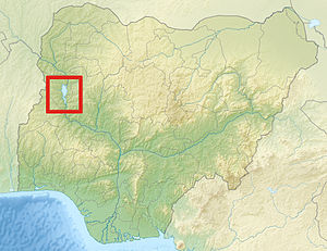 Kainji Lake - Kainji Lake highlighted within Nigeria