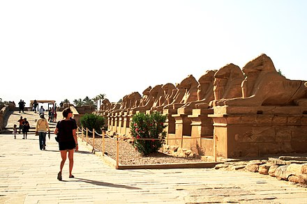 The main entrance to Karnak flanked by ram-headed sphinxes Karnak temple 4.jpg