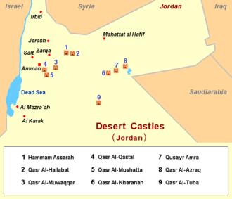 Desert castles - area map of desert castles in Jordan