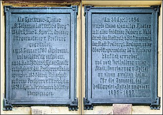 Freiburg Charterhouse - The two tablets to either side of the main entrance, giving the history of the building, set up after its conversion to a nursing home in 1897
