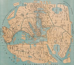 Early world maps - An 1898 reconstruction of Pomponius Melas view of the World.