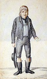The young Kaspar Hauser, ink drawing by Johann Georg Laminit (1775–1848)