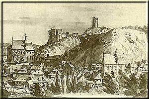 Kazimierz Dolny - View of Kazimierz Dolny in 1811, watercolour painting by Jan Feliks Piwarski