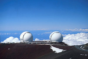 Outline of astronomy - Mauna Kea in Hawaii is one of the world's premier observatory sites. Pictured is the W. M. Keck Observatory, an optical interferometer.
