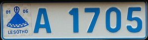 Vehicle registration plates of Lesotho - Lesotho number plate with the mokorotlo sticker.