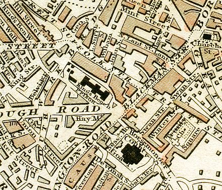 Locations of King's Bench Prison and Horsemonger Lane Gaol c.1833 King's Bench Prison and Horsemonger Lane Gaol from 1833 Schmollinger map.jpg