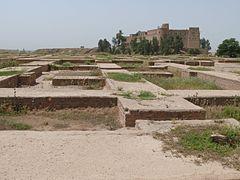 Ruinerne efter Kongens private rum i Susa.   I baggrunden ses den betydeligt den nyere Shushborg.