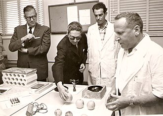 Foreign relations of Nepal - King Mahendra of Nepal (second from left) in a 1958 visit to Israel's Weizmann Institute of Science.