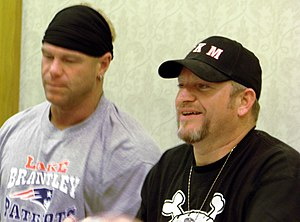 The New Age Outlaws - The Voodoo Kin Mafia (Kip, left, and B.G., right) at TNA Lockdown Interaction in 2007.