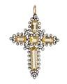 Kors av topaser och briljanter med guld och silver, 1800-tal - Hallwylska museet - 110390.tif