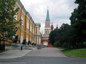 Kremlin Arsenal - Cannons and mortars of La Grande Armée are exhibited along the yellow Arsenal building