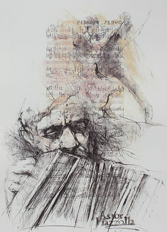 Astor Piazzolla - Astor Piazzolla (lithography)